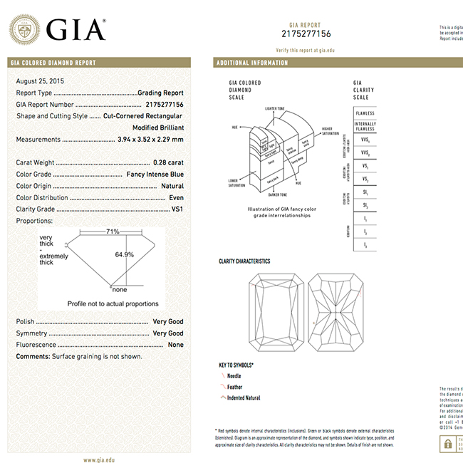.28 carat VS1 GIA Certified fancy intense blue natural colored diamond for sale-gia-certificate