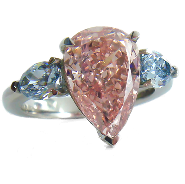4.06CT gia certified VS2 fancy Intense Orangy Pink loose or set in platinum engagement ring fancy colored diamonds for sale