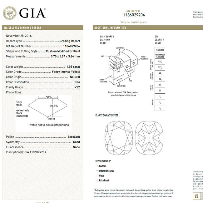 1.03 Fancy Intense Yellow VS2 natural colored diamond gia certified for sale- gia-certificate